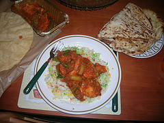 Chicken Jalfrezi with rice, naan and poppadums