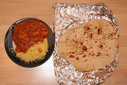 Chicken Balti with rice and Naan bread