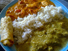Thai Green and Red curries, with rice